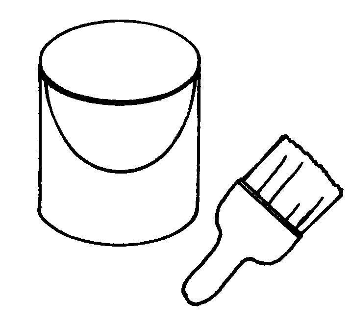 pot peinture et pinceau