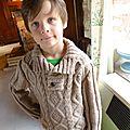 Pull pour le ski, motif irmandais, 7-8 ans