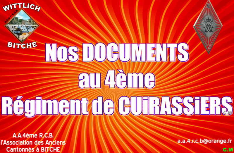 Nos DOCUMENTS AU 4ème Régiment de CUIRASSIERS