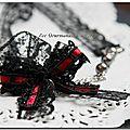 Collier dentelle noire et rouge