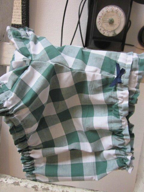 Culotte BIANCA en coton gros vichy vert - noued marine (4)