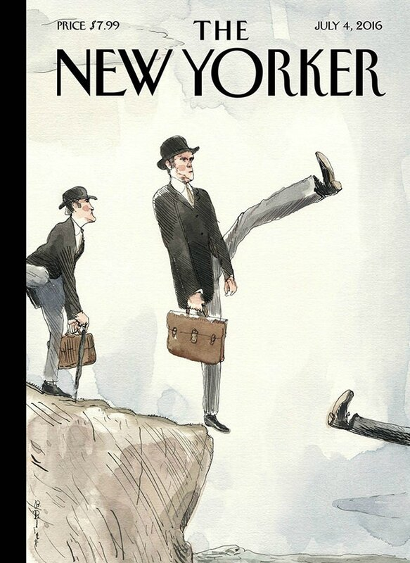New Yorker's Barry Blitt, whose latest funny illustration, Silly Walk Off A Cliff