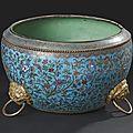 Vasque en bronze et émaux cloisonnés. chine, 19ème siècle.