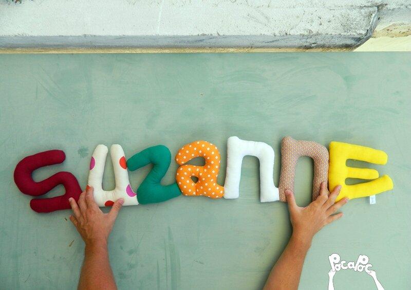 suzanne, mot en tissu,mot decoratif,cadeau de naissance,decoration chambre d'enfant,cadeau personnalise,cadeau original,poc a poc blog