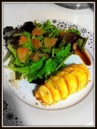 langouste marinée au citron vert et gingembre, vinaigrette aux agrumes