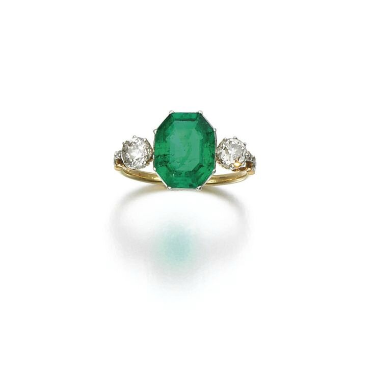 Emerald and diamond ring, late 19th century