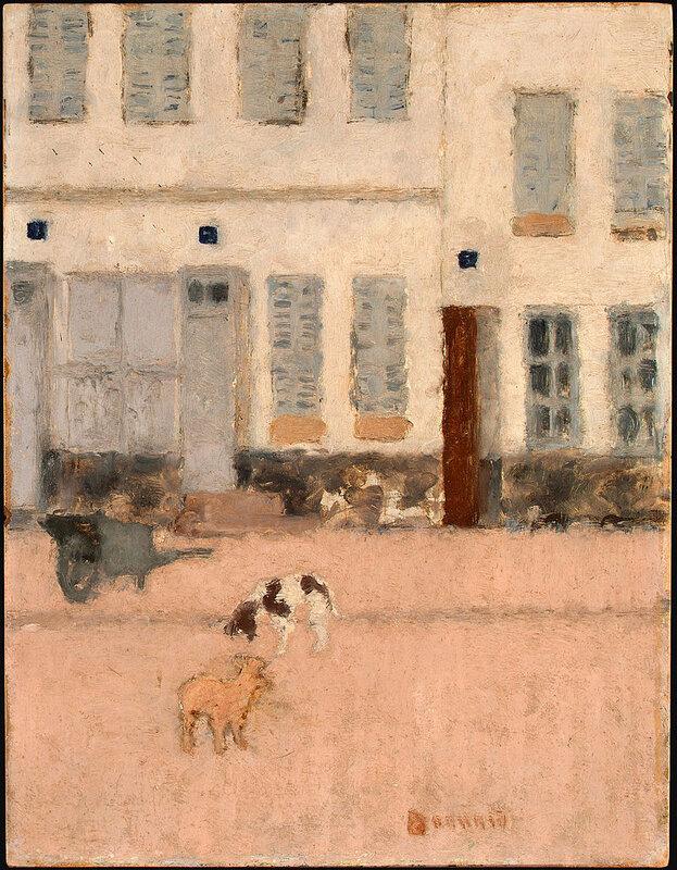 1894 - Deux chiens dans une rue déserte
