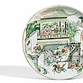 A large famille verte dish with a scene from the story of mu guiying, kangxi period (1662-1722)