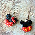 Boucles d'oreilles mickey et minnie donuts