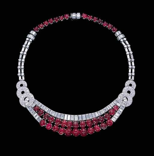 A cabochon ruby and diamond necklace, circa 1933