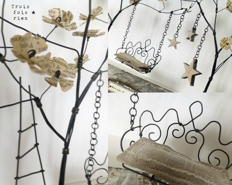 Un p'tit coin pour rêver, fil de fer, bois, papier, lin, métal, sculpture fil de fer, arbre fil de fer (3)