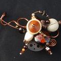 collier tour de cou cuivre, beige et marron