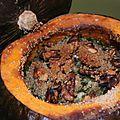 Foire saint-michel brestoise et potimarron farci poulet, pomme, citron, poivre timut et chèvre
