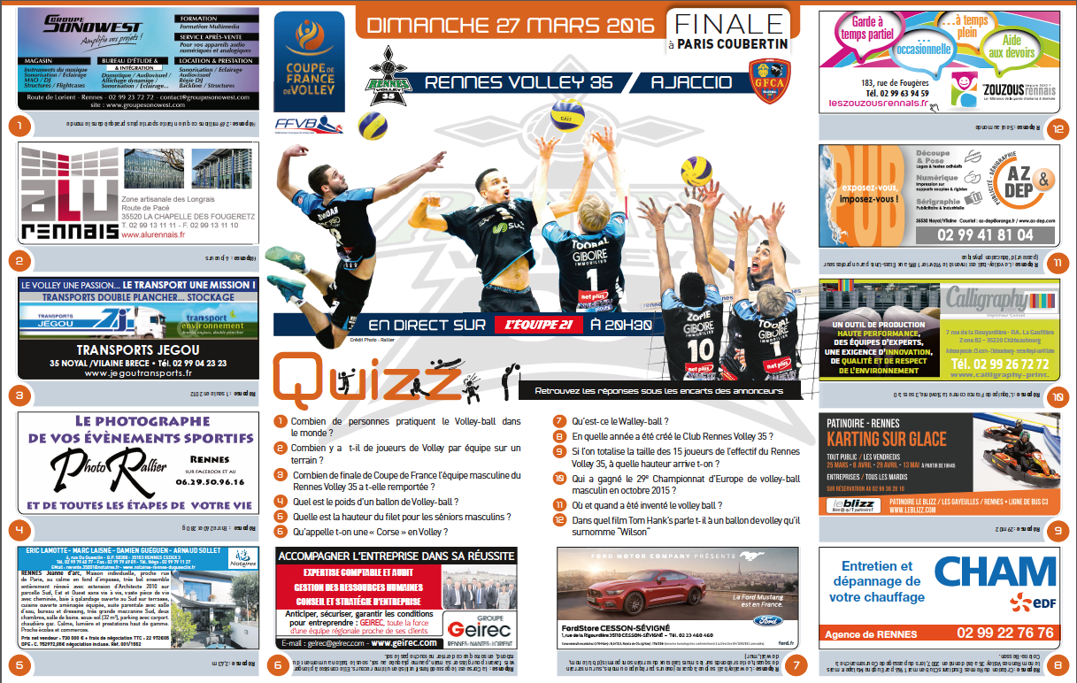 infographie cahier sport du quotidien ouest-france - coupe de france de volley 2016