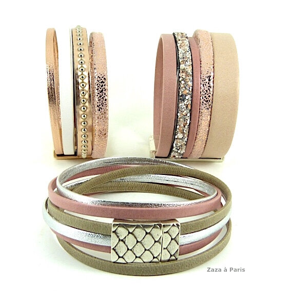 Bracelets cuir Manchettes été 2016 zaza rose gold