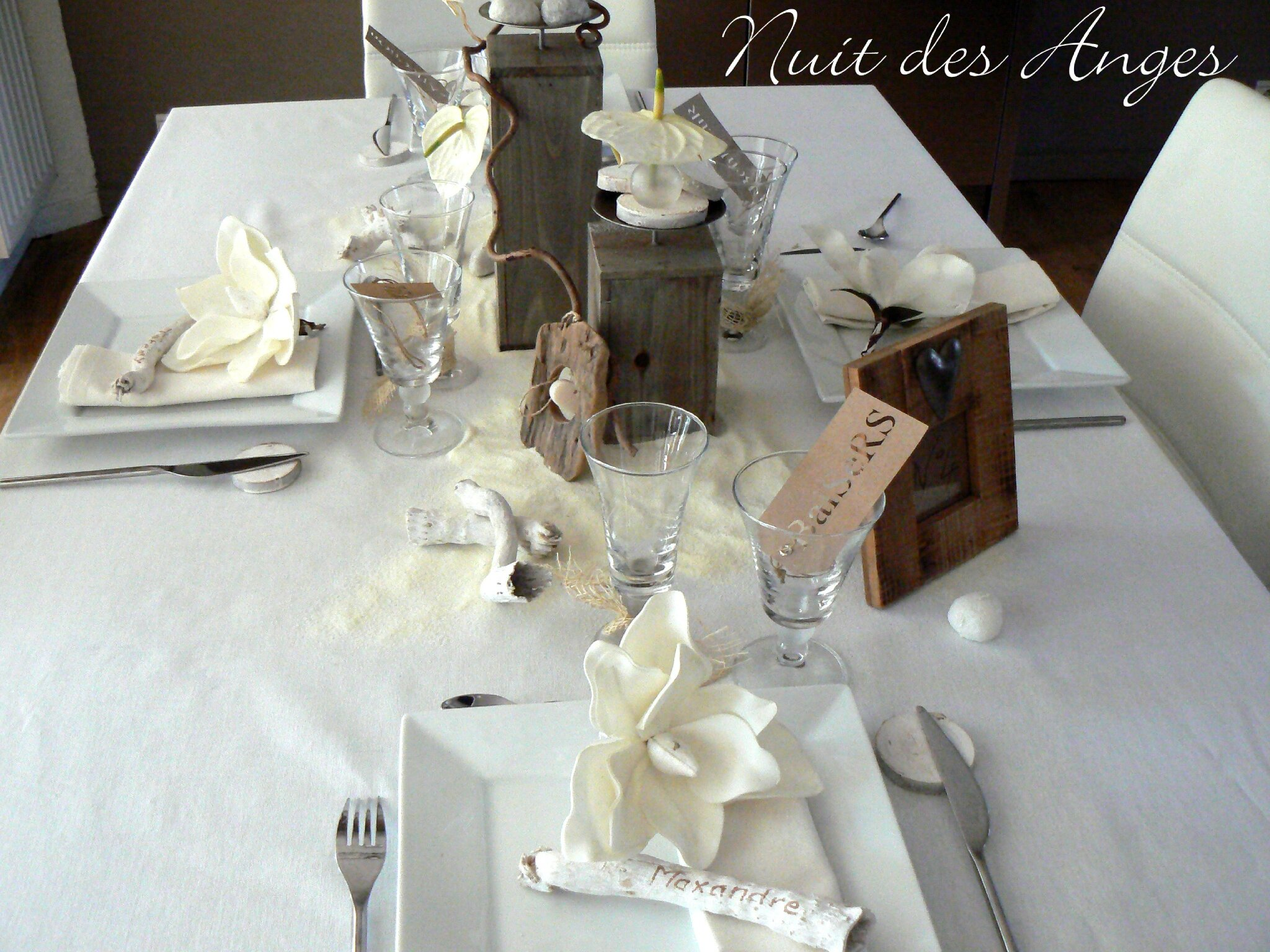Nuit des anges d coratrice de mariage d coration de table for Decoration de bois flotte