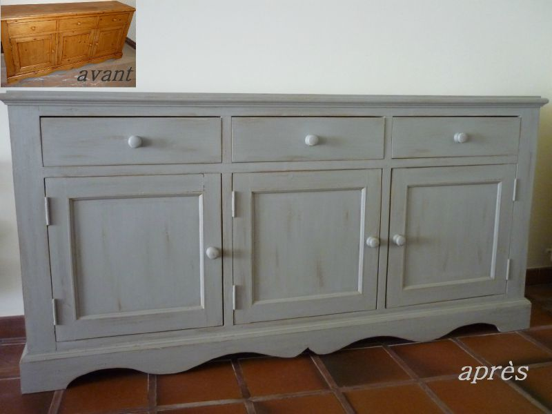 Buffet 3 portes av ap photo de mes meubles peints for Meuble bois peint
