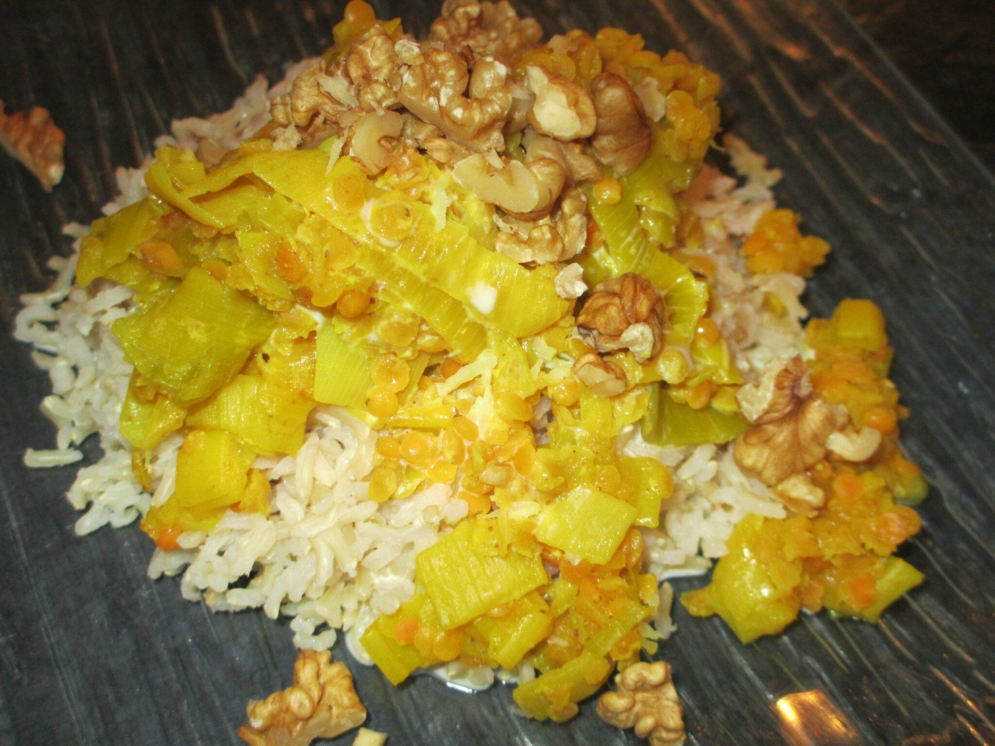Lentilles Corail Aux Poireaux Accompagné De Riz Basmati Cuisine - Cuisiner les lentilles corail