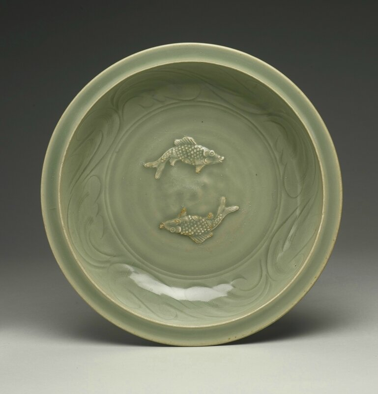 A 'Longquan' celadon 'Twin Fish' dish, Southern Song-Yuan dynasty, late 13th-early 14th century