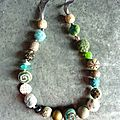 Collier de laine - vert de gris
