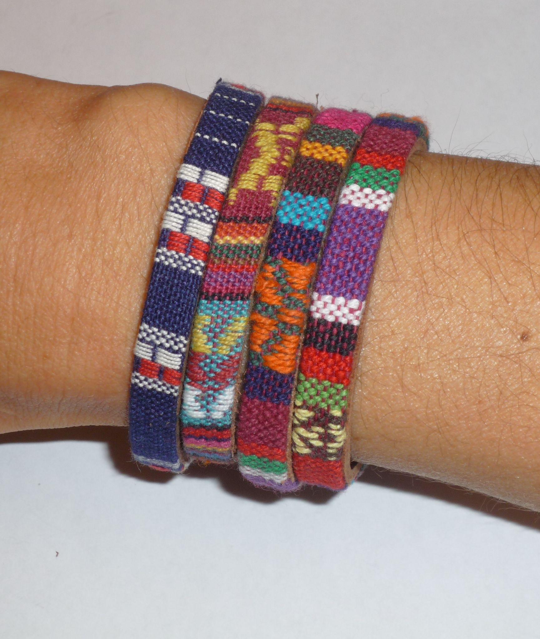 Bracelet 'Cuir et tissu'