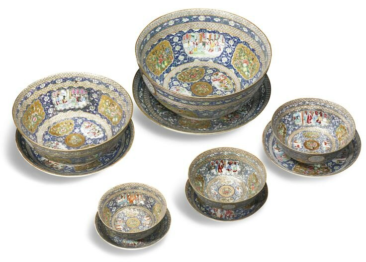 Five porcelain bowls and dishes with 'famille rose' decoration from a service made for Ma'sud Mirza Zill al-Sultan