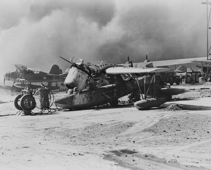 OS2U_wrecked_at_Pearl_Harbor_1941