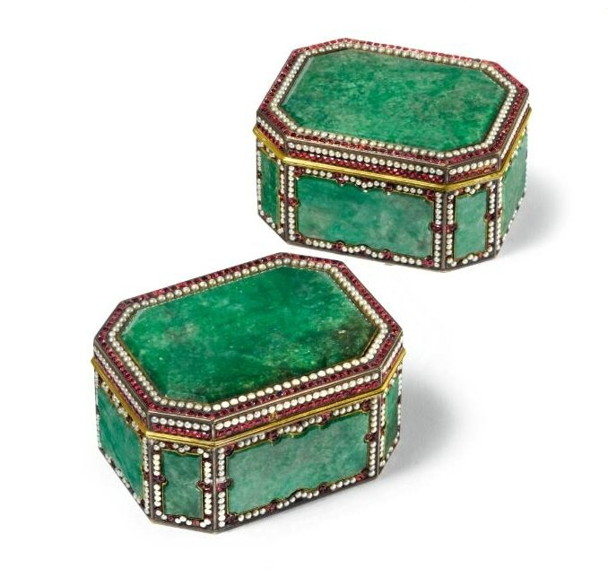 A rare pair of Canton Tribute embellished silver-gilt jadeite boxes, Qing dynasty, Qianlong period (1736-1795)