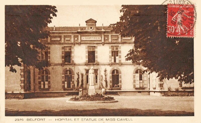 CPA Belfort Hôpital civil Statue Miss Cavell Rue de Mulhouse 1932-35