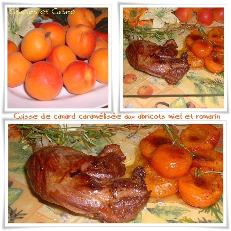 Cuisse de canard caramélisée aux abricots miel et romarin 1