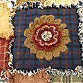 * Plaid en flanelle et fleurs au crochet *
