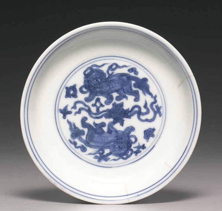 A blue and white 'Lion' dish, Jiajing mark and period2