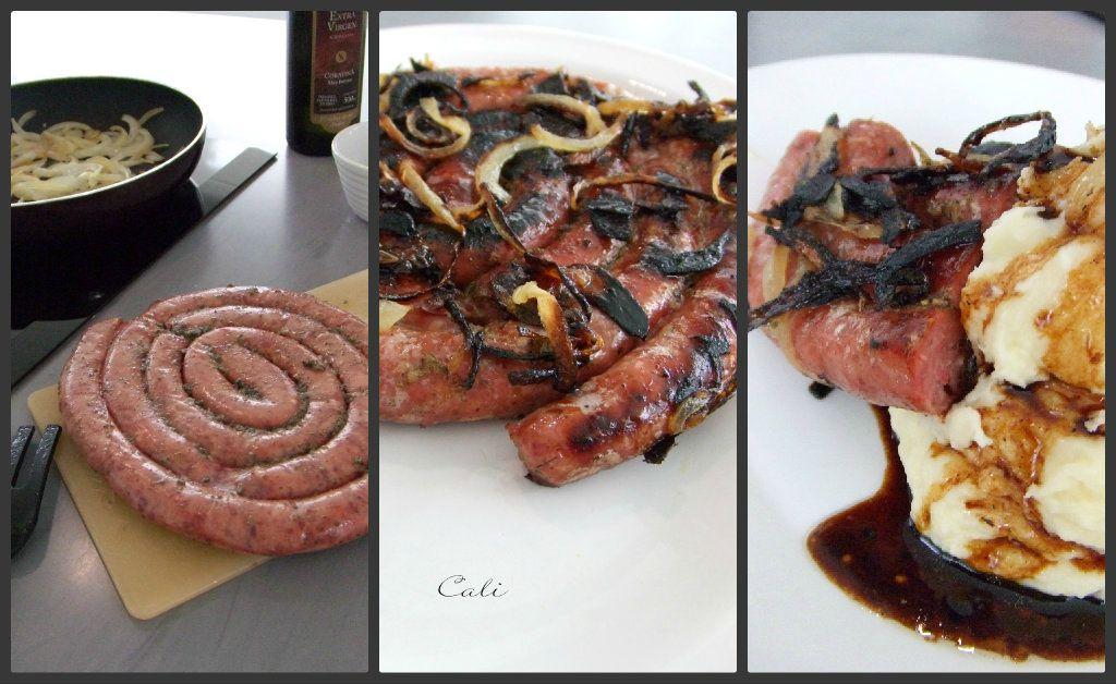 Saucisse roulee r tie aux oignons salchicha enrollada - Cuisiner avec la sauge ...