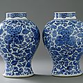 A Pair of Blue and White Jars, Kangxi period (1662-1722). Photo Stockholms Auktionsverk