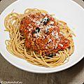 Spaghetti bolognaise à la cannelle et olives