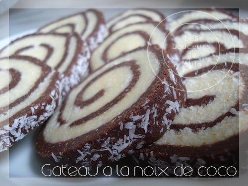 Gateau noix de coco fourre chocolat