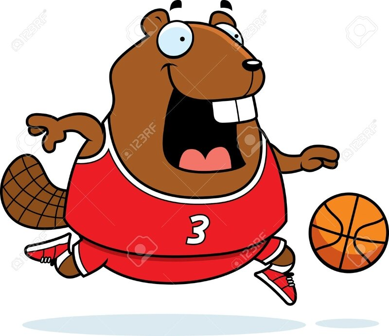 42600541-A-cartoon-illustration-of-a-beaver-playing-basketball--Stock-Vector