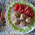 Boulettes de pommes de terre- jambon au sésame