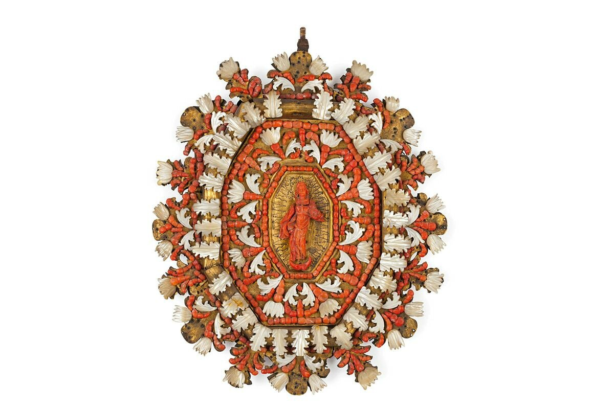 A copper, coral and mother of pearl capezzale, Trapani, 17th century
