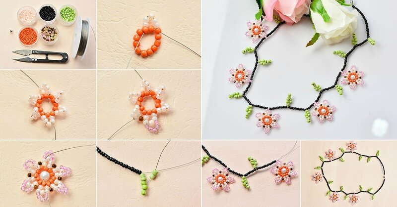 Instructions-on-How-to-Make-Cheap-Flower-Seed-Beads-Necklace-for-Girls