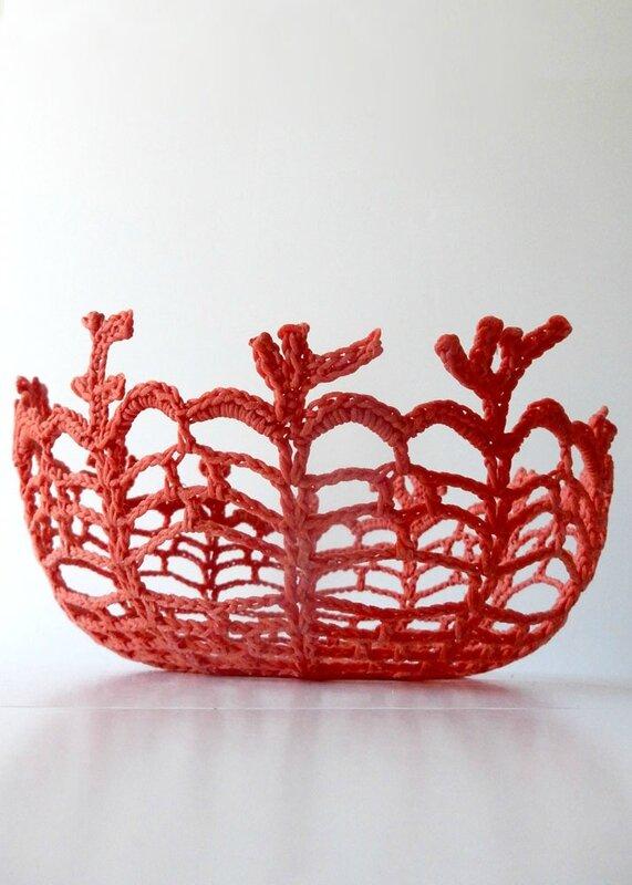 corbeille corail - crochet déco - Anisbee