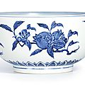 An extremely rare blue and white 'fruit' bowl, ming dynasty, yongle period