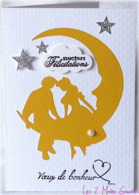 carte de félicitations avec couple d'amoureux sur la lune
