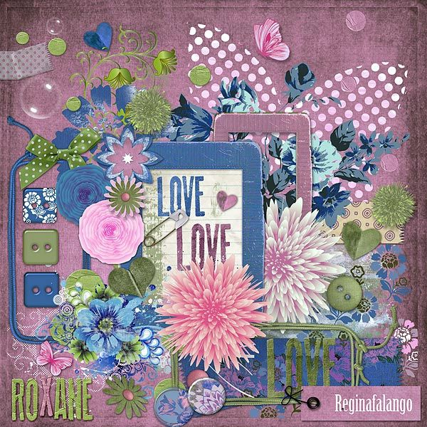 "Free scrapbook kit ""ROXANE"" from Regina Falango"