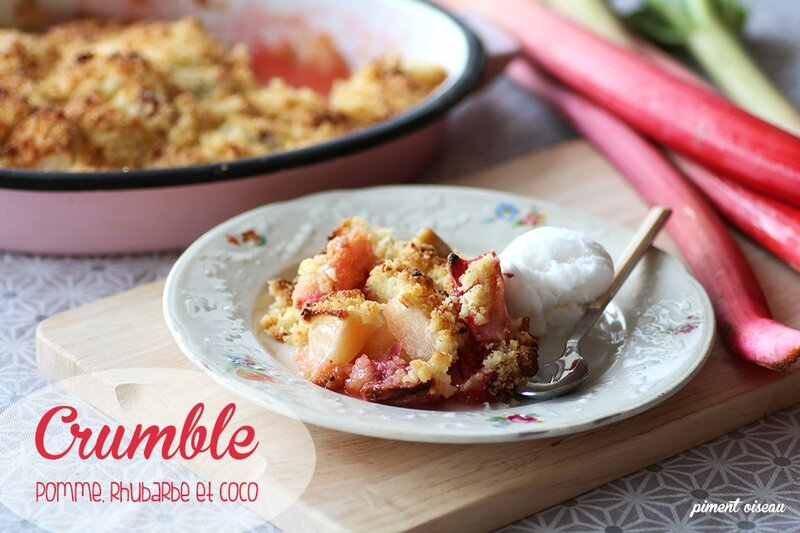 crumble pomme rhubarbe coco