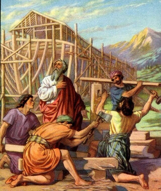 Arche-Noah and his_sons_building_the_ark