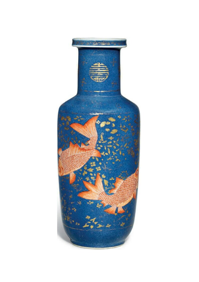 An iron-red and gilt decorated powder blue 'Fish' rouleau vase, Kangxi period (1662-1722)