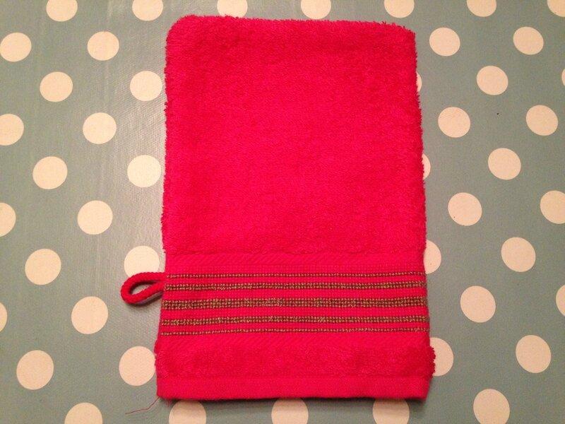 gant rose 100%coton 16x22cm recto clem verso lignes 4