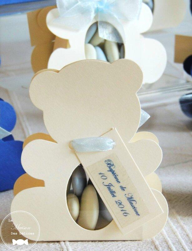 boite dragees bapteme theme nounours teddy bear bleu pastel ivoire amande avola