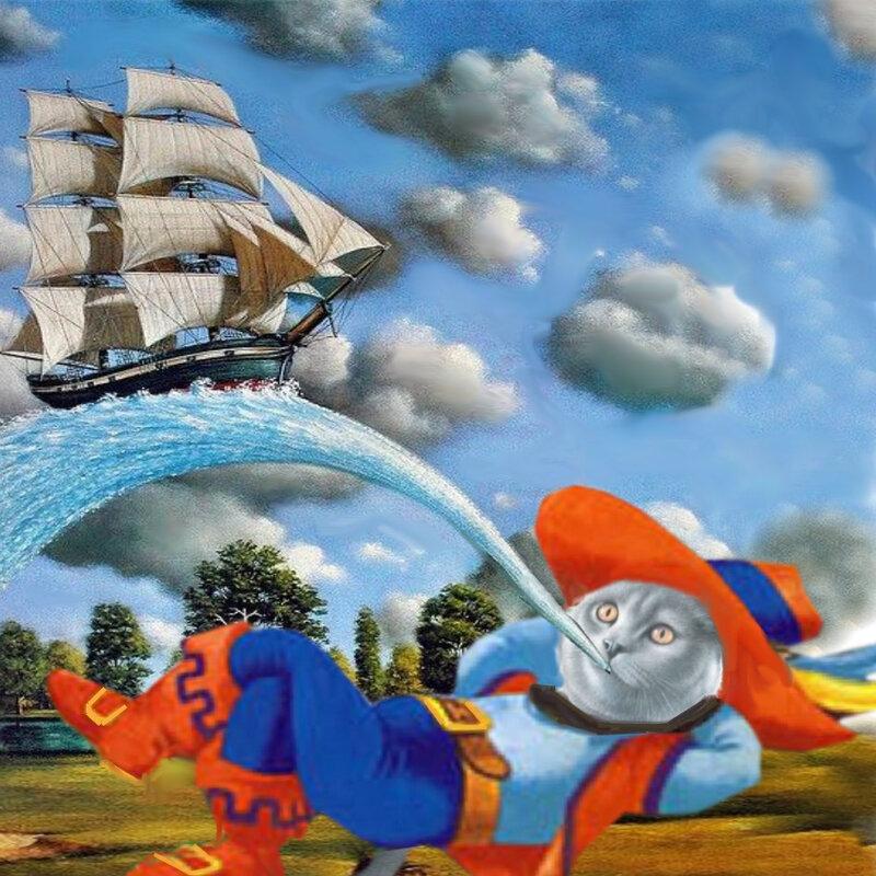 carte chat bateau vent